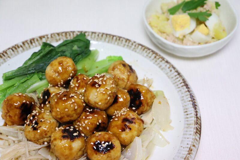ぱくぱく鶏団子とほくほくポテトサラダ